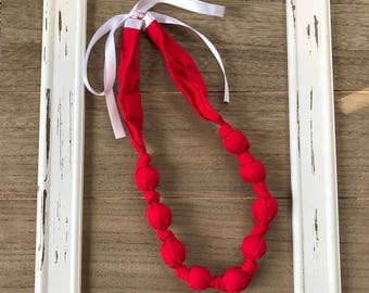 Fabric Teething Necklace- Teething Necklace- Nursing Necklace- Scarlett Heart