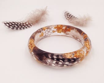 Guinea fowl feather and gold leaf, expressive resin jewelery Bangle with Guinea fowl feather