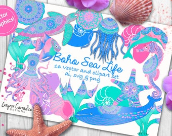 Sea creatures clipart, sea creatures vectors, sealife clipart, sea life svgs, turtle clipart, starfish clipart, whale clipart, ocean clipart