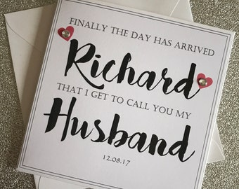 To My Groom On Our Wedding Day Card - Husband To Be Card Wedding Day Card - From Your Bride - Personalised Wedding Card To My Groom