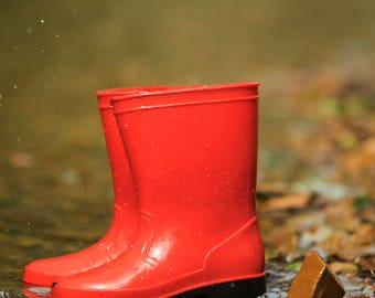 Newborn Red Rainboot by creek digital background/digitla backdrop /overlay