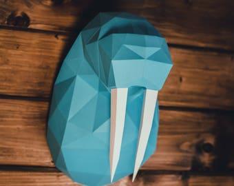 Walrus Head (Paper Walrus Head, Origami Walrus, 3D Walrus Head, papercraft, lowpoly, DIY template, PDF)