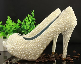 Peep Toes Ivory Pearl Decorate Bridesmaid Shoes Cute Woman High Heels Evening Party Shoes Prom Platform Shoes White Pearl Shoes