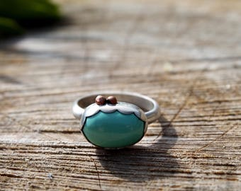 Sale: Elements•• Royston Green Turquoise unqiue southwestern boho style sterlingsilver scalloped Ring UK SIZE Q