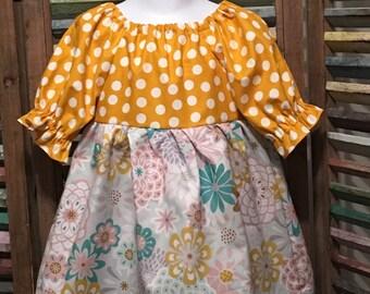 Girls dress, Little girls dress, Toddler dress, Girls peasant dress, Girls spring or summer dress, Boho girls dress, Size 2T, #142