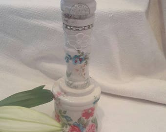 Candleholder,candlestick,shabby chic,two sides,present,Paris, multi media,solid wood,Vintage, decoupage,flowers,white,lace