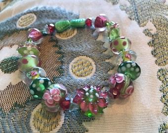 Lampwork bracelet, green lampwork bracelet, pink lampwork bracelet, graduation gift, Mother's Day gift, one of a kind bracelet