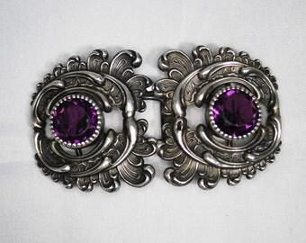 Sterling Art Nouveau Buckle with Purple Stones