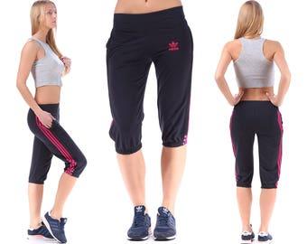 Adidas Tracksuit Pants 90s JOGGER Short Pants Track Faded Black Pink 3 Stripes Atheletic Activewear 90s Basketball Hip Hop Stretchy Medium