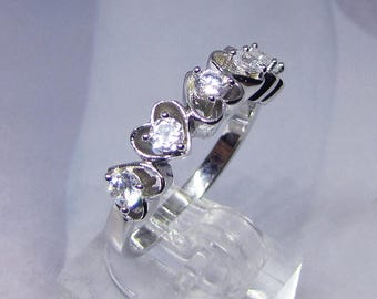 Silver heart Cz diamond rings, jewelry 925 sterling silver rhodium plated with white CZ ring