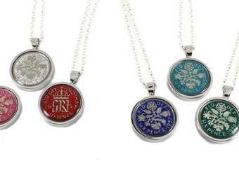 Hand Painted Enamel Lucky Sixpence Necklace on 18 inches sterling silver chain, Choice of 8 Colour