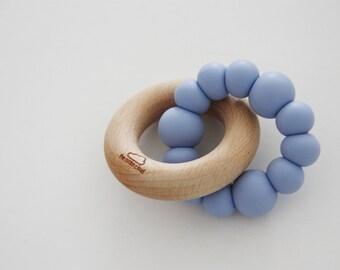 Silicone & Wood MONOCHROME Baby Teether - Mordedor - Chupetero - hochet - Beißring