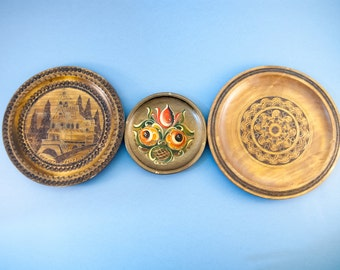 decorative plates for hanging wooden wall plates set wood wall hanging vintage wooden - Decorative Wall Plates