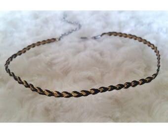 Gold & Black braided choker