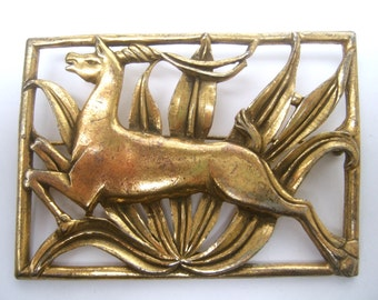 ART DECO Leaping Gazelle Gilt Brooch c 1940s