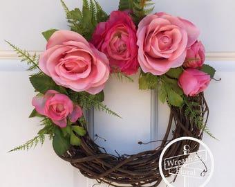 Small Wreath, 10 inch Grapevine Wreath, Window Wreath, Wall Wreath, Rose Wreath, Pink Wreath, Wreath Street Floral, Spring Wreath