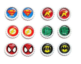 Personalized Super Hero Bottle Cap Magnets - Lapel Pin or Key Ring/Set of 4 Magnets/Lapel Pin/Key Ring/Your Choice