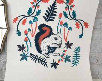 Woodland  Squirrel screen prints