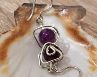 Amethyst Earrings, Crystal Earrings, Amethyst Earrings, Silver 925 AG , Purple Amethyst Earrings, Purple Crystal earrings, Silver