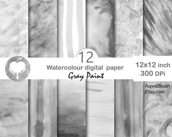 Gray Paint Digital Watercolor Paper - Commercial use hand painted striped brush stroke abstract background overlay ink gradient ombre washy