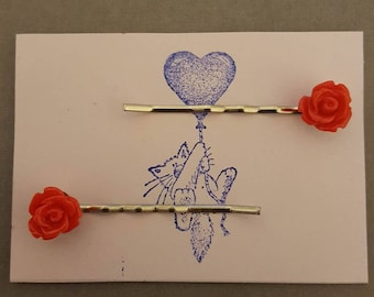 Handmade small red rose bobby pins - set of two 10mm red rose bobby pin hair clips