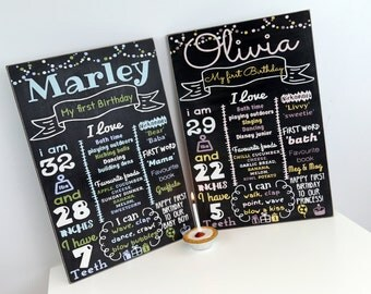 Personalised First Birthday Chalkboard style Keepsake board! Birthday decor, keepsake.