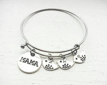 Mama bracelet- mama and baby bird bracelet- mama and kids bracelet- mama bangle- gift for mom- mother's day gift- personalized mama bracelet