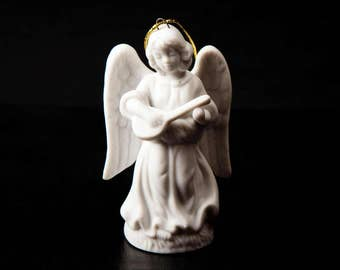 Schmid Santini 1988 Vintage Ornament Porcelain Angel Figurine Playing Banjo