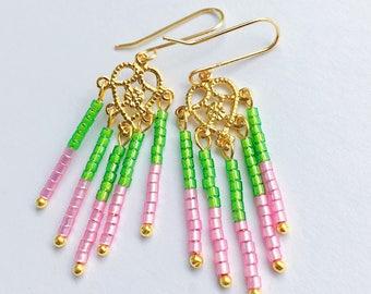 Beaded Earrings, Filigree Earrings, Seed Bead Earrings, Boho Earrings, Czech Seed Bead Earrings, Filigree Heart Earrings, Dangle Earrings