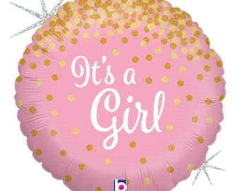 """It's a Girl Balloon- Pink Holographic Glittering Balloon- 18"""" Baby Shower Balloon-Gender Reveal Party"""