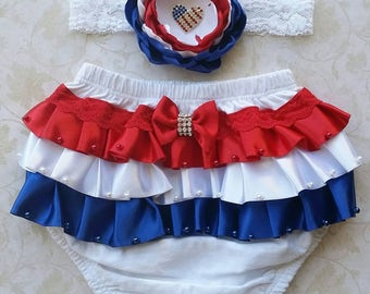 4th of July baby bloomer - patriotic baby bloomer - 4th July baby headband - 4th July baby bloomer - red white and blue bloomer - baby gift