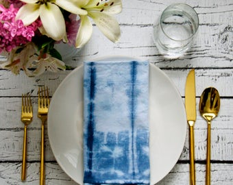 Blue Shibori dyed Cloth Napkins, Dinner Party, Anthropologie Inspired, Brunch Tablescape
