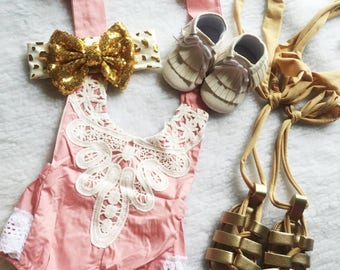 Free Shipping,Pink,Embroidery,Outfit,Onesie,Costume,Baby,Princess