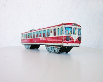 T.N. Made in Japan Tin Train, Vintage tin toy, vintage collectible, antique toy, Collectible Tin, antique train, collectibles, japanese toys