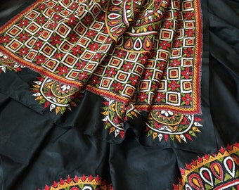 New all hand embroidered Black banglore silk saree with blouse piece