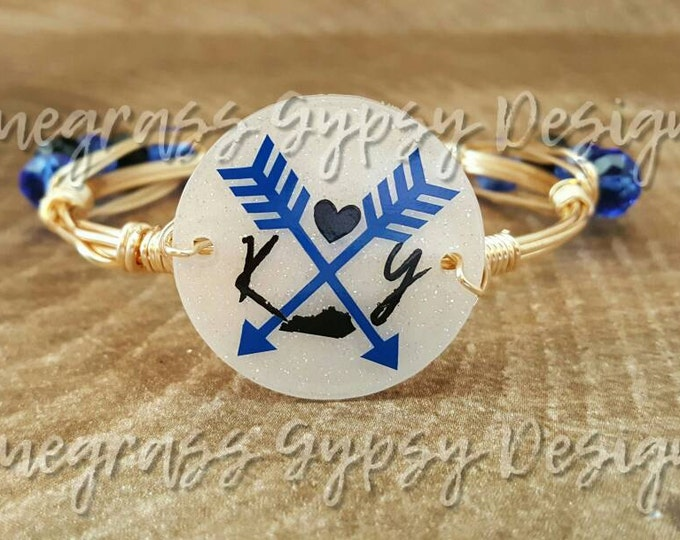 University of Kentucky wire bangle bracelet, Bourbon and Bowties Inspired