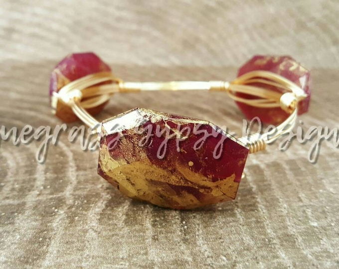 Garnet and Gold Wire Wrapped Bangle, Bracelet, FSU, Bourbon and Boweties Inspired
