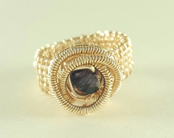 Rose gold wire woven purple ring