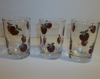 Vintage Plaid Apples Juice Glasses Set Of 3