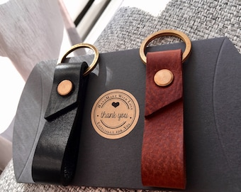 Handmade Leather Key Fob, Leather keychain, Chestnut leather key fob,  black leather key fob, Made in London, Free UK Shipping