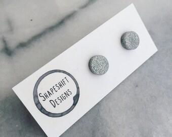 Polymer Clay Silver Glitter Studs- Handmade