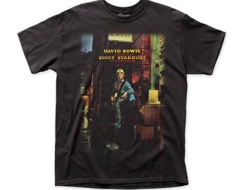 David Bowie Ziggy Plays Guitar 18/1 Men's Traditional Cotton Tee (DB31) Black