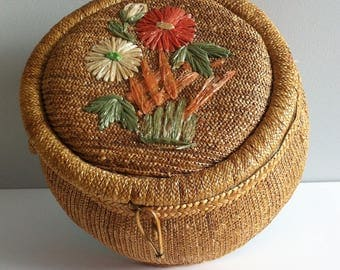 Vintage woven sewing basket, 1950's raffia, rattan, satin lined and vintage sewing materials.