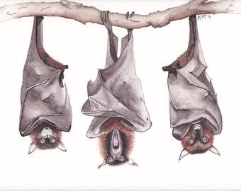 Three Bats Minimalistic Art Print