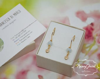 Aquamarine earrings, gold earrings, raw aquamarine, aquamarine pearls, graduation gift, made in Italy, 18ct gold plated, real precious stone