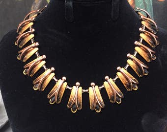 Vintage Matisse by Renoir necklace Elegant black and gold enameled copper links mid century statement