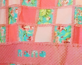 Bliss/Coral Rag Quilt/blanket/throw