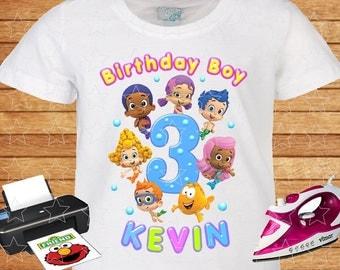 Any Name and Age on T-shirt Birthday Boy. Bubble Guppies, Iron on Transfer, Bubble Guppy Birthday Shirt, Family Theme Shirts. 3.