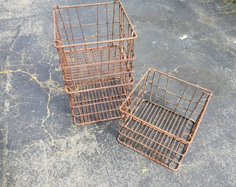 Set of 3 Stackable Metal Milk Crates/Metal Milk Crates/Milk Crates