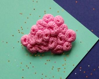 Pink coral pin - Pink coral brooch - unique piece - coral reef